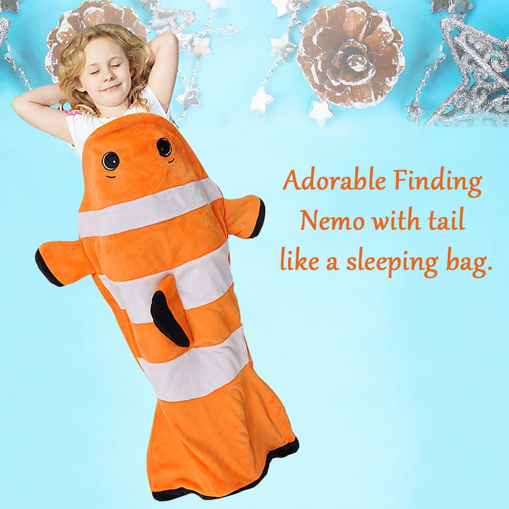 Super Soft Micro Fleece All Seasons Kids Sleeping Blanket Bag for Toddler Children Teens Boys Girls 132cm x 63cm Catalonia Plush Clownfish Tails Blanket Orange 52x25