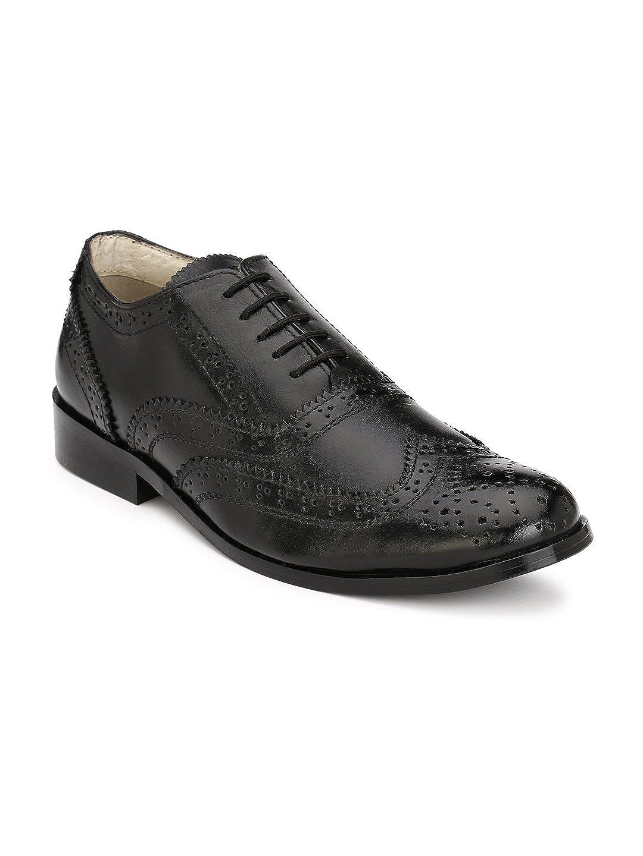 d4f95b8397a HiREL'S Men Pure Black Leather Brogue Formal Shoes