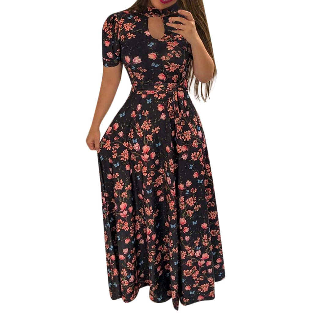 ZOMUSAR Women Floral Dress Summer Evening Holiday Party Long Tunic Sundress for Ladies Black