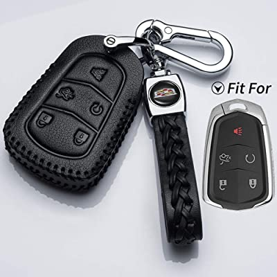 Hey Kaulor Leather for Cadillac 2000-2020 Escalade cts SRX xt5 ATS STS CT6 Smart Prox Remote Key fob Cover case Holder only for 5 Buttons: Automotive