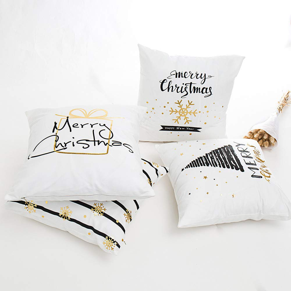 DOGZI Kissen Bettw/äsche Weihnachten Sofa Dekokissen Kissen Weihnachten Gl/ücklich Camper Baumwolle Leinen Sofa Fall Taille Wurf Kissenbezug Home Decor