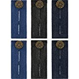 TOODOO 6 Pieces Button Extender Waist Extender with Metal Button for Pants, Jeans, Trousers and Skirt, Black, Blue and Dark Blue
