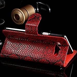 Cell Buddy Fashion PU Leather Cover With Credit Card Holder Luxury Snake Skin Pattern Flip Case Cover For Samsung Galaxy A7 A7000 --- Color:Red