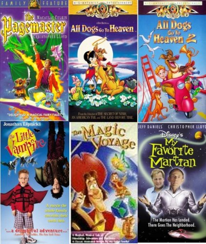 The Pagemaster, All Dogs Go to Heaven 1 & 2, The Little Vampire, The Magic Voyage, My Favorite Martian - VHS Family Six Pack