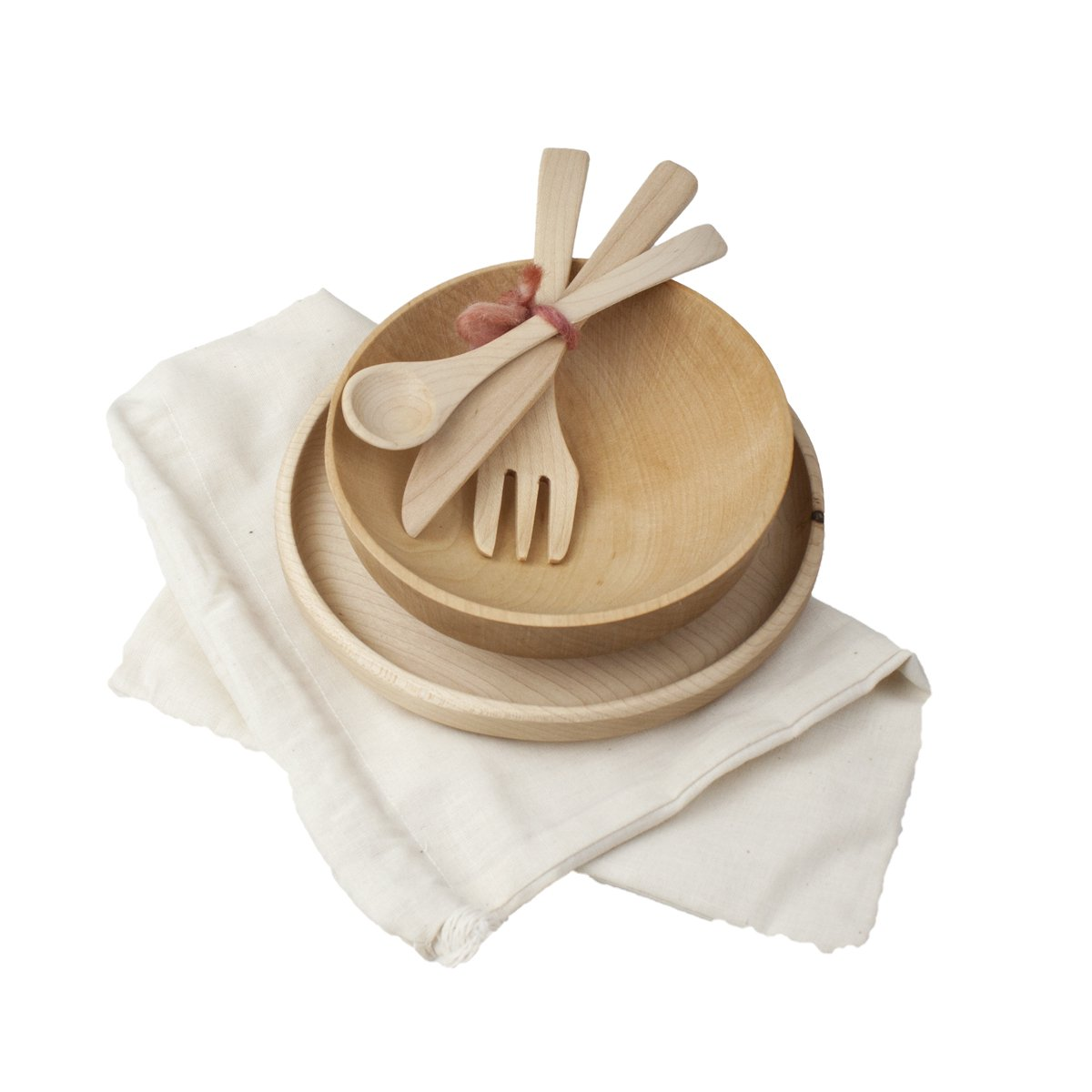 Camden Rose Childs Maple Wood Place Setting with Muslin Storage Bag