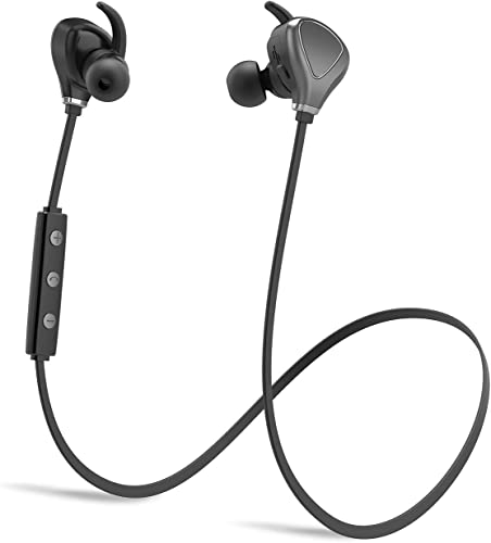 Bluetooth Headphones, Wireless Sports Running Headphones Lightweight Stereo Noise Cancelling Sweatproof w Mic Earbuds Cordless Earphones in Ear Headsets for Gym Workout Compatible with iPhone Gray