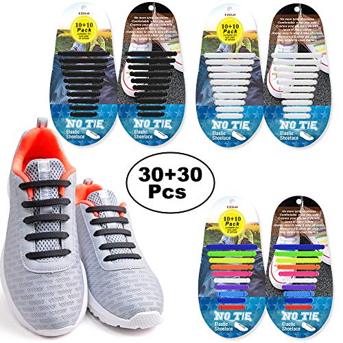 EZIGO No Tie Shoelaces for Adults and Kids, Tieless Elastic Rubber Shoe Laces Silicone Waterproof Flat Kids Shoelaces for Sneaker Boots Board Shoes 60Pcs No Tie Laces(Black+White+Rainbow) ()