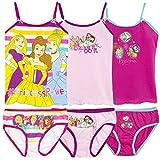 Official Disney Princess Licensed Girls Underwear Set Bulk 6 PCS Pack 3 Briefs + 3 Cami Vest 2-8 yrs