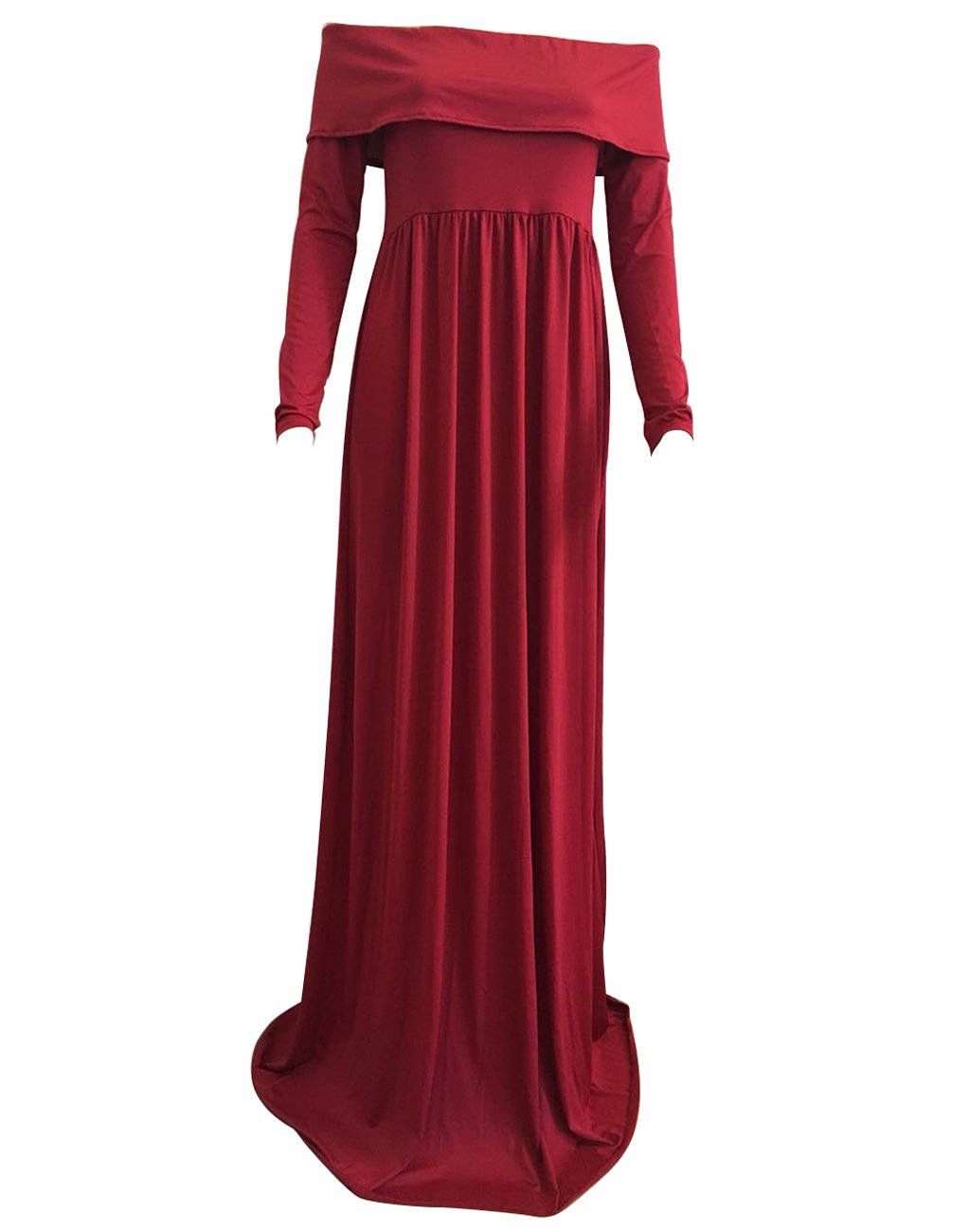 Babe Maps Cowl Neck and Over The Shoulder Maternity Long Sleeve Nursing Off Shoulder Dress for Photography,Red,Medium