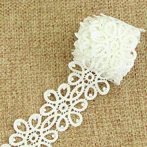 De.De.3 Yard/2.73m Vintage Embroidery Flower Lace Trim Wedding Dress Fabric Costume Trimming Sew DIY Craft Off-white