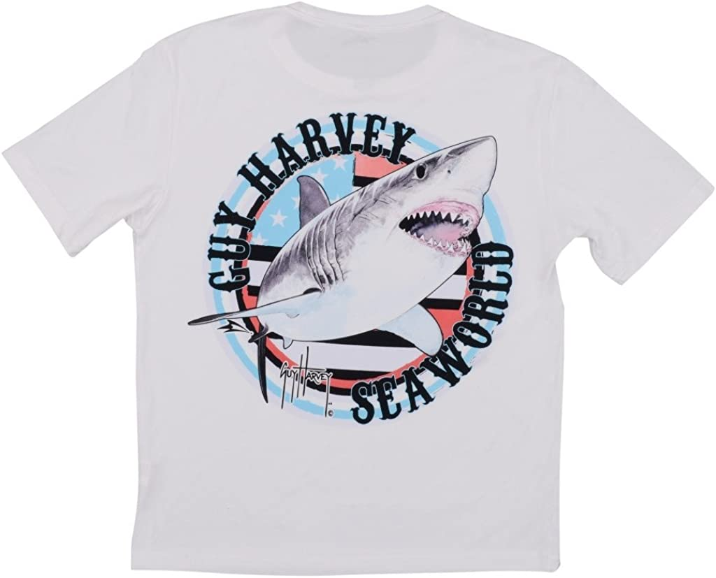 SeaWorld & Guy Harvey Exclusive USA Shark White Performance Adult Tee