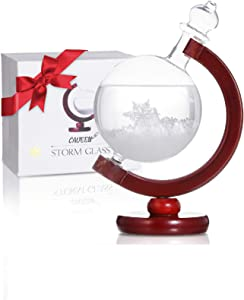 CAVEEN Storm Glass Weather Station - Creative Weather Predictor Globe Crystal Weather Forecaster with Wooden Base, Desktop Decorative Glass Bottle Home Decoration, Party Supply