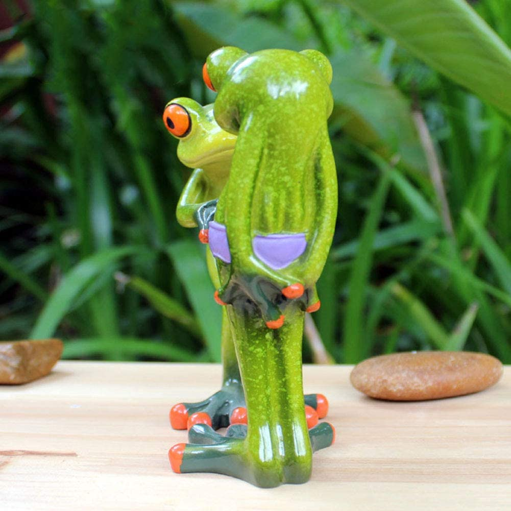 JIESD-Z 3D Frogs Figurine,Two Unrestrained Frogs,Resin Animal Pen Pencil Holder Funny Cute Decoration for Home Desk Bathroom