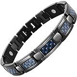 Willis Judd Mens Black Titanium Magnetic Bracelet With Blue Carbon Fibre In Black Velvet Gift Box + Free Link Removal Tool