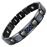 Willis Judd Mens Black Titanium Magnetic Bracelet With Blue Carbon Fibre In Black Velvet Gift Box + Free Link Removal Tool
