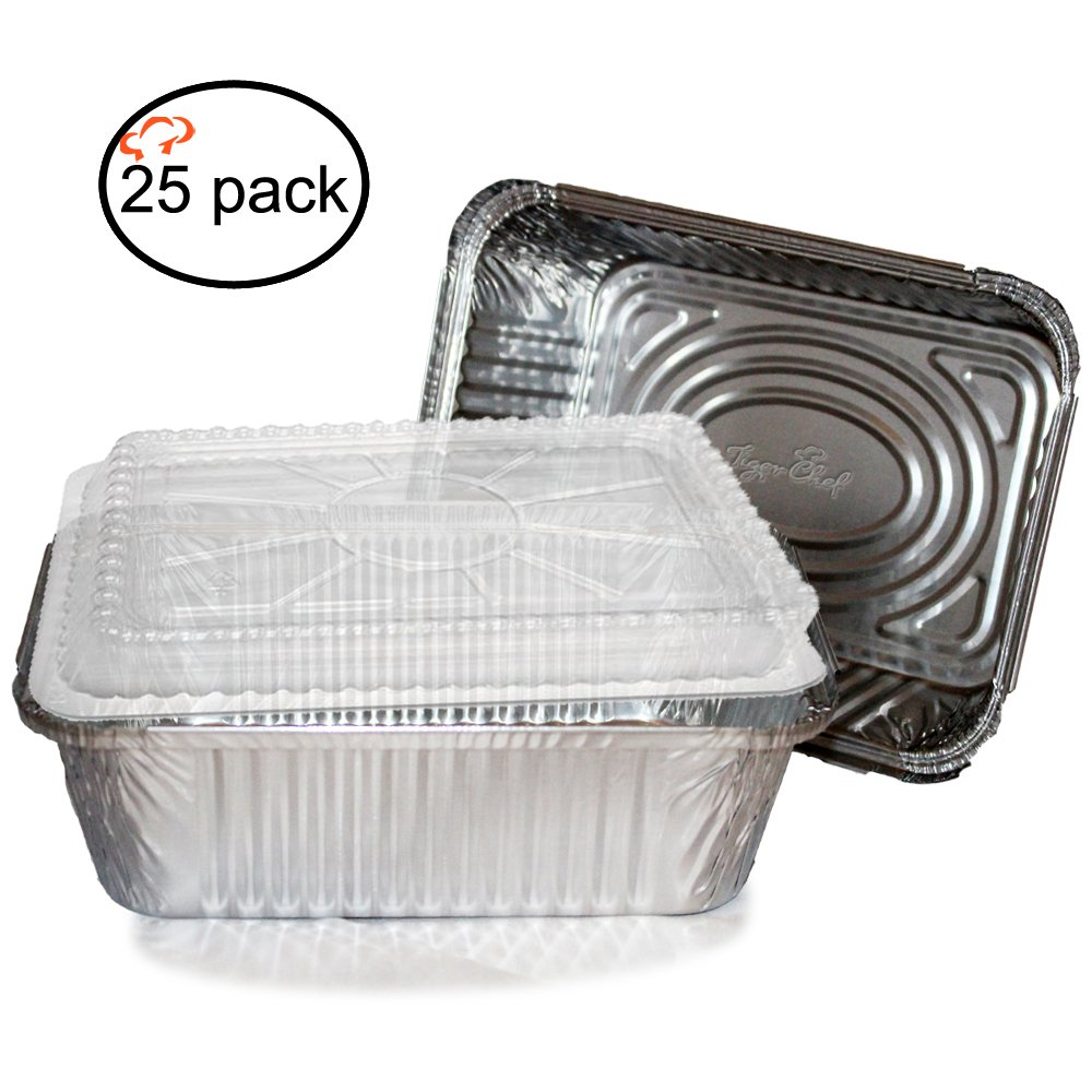 9.63 x 7.13 x 2.75 Size Tiger Chef 0026-00545@500PK 9.63 x 7.13 x 2.75 Size Pack of 500 TigerChef TC-20555 Durable Aluminum Oblong Foil Pan Containers 5 Pound Capacity Pack of 500