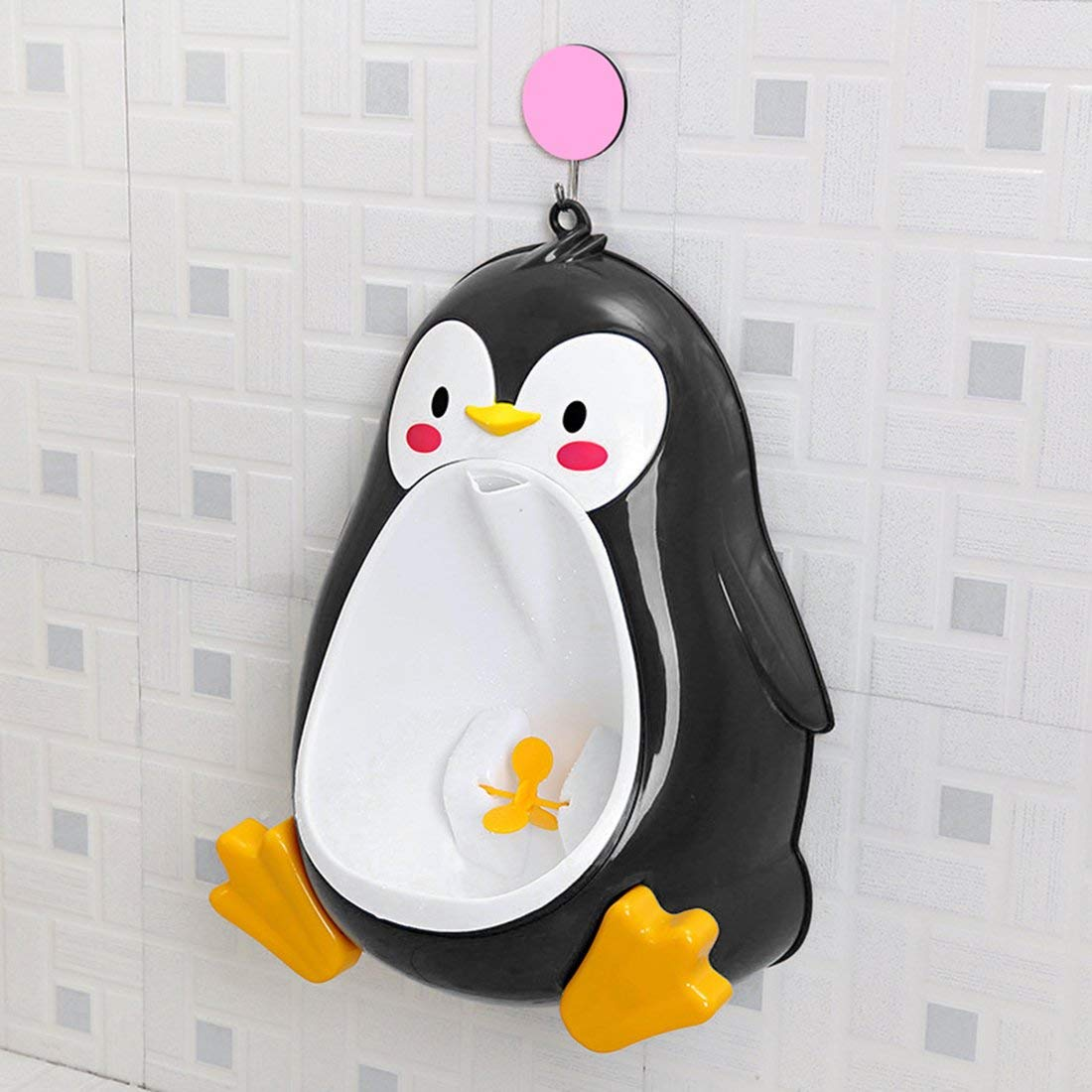 Noir Dessin anim/é mignon Penguin Potty Urinoir Toilette Permanent Urinoir Salle de Bains Enfants Pee Trainer pour Gar/çons De 8 Mois /à 6 Ans