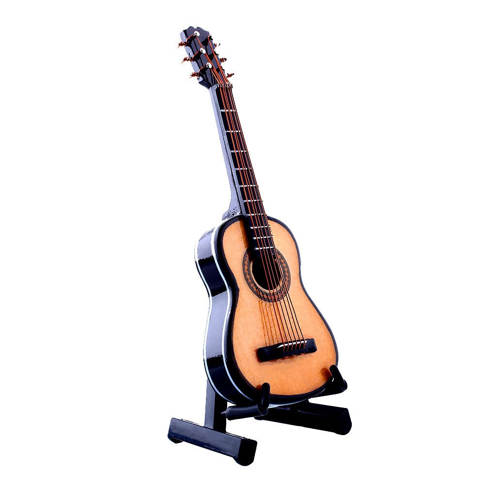 Forfar Wooden Acoustic Guitar 1:12 with Stand and Case Musical Instrument Miniaure Dollhouse FF-52239