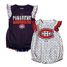 Montreal Canadiens Newborn Girls Polka Fan 2-Pack Bodysuit Set