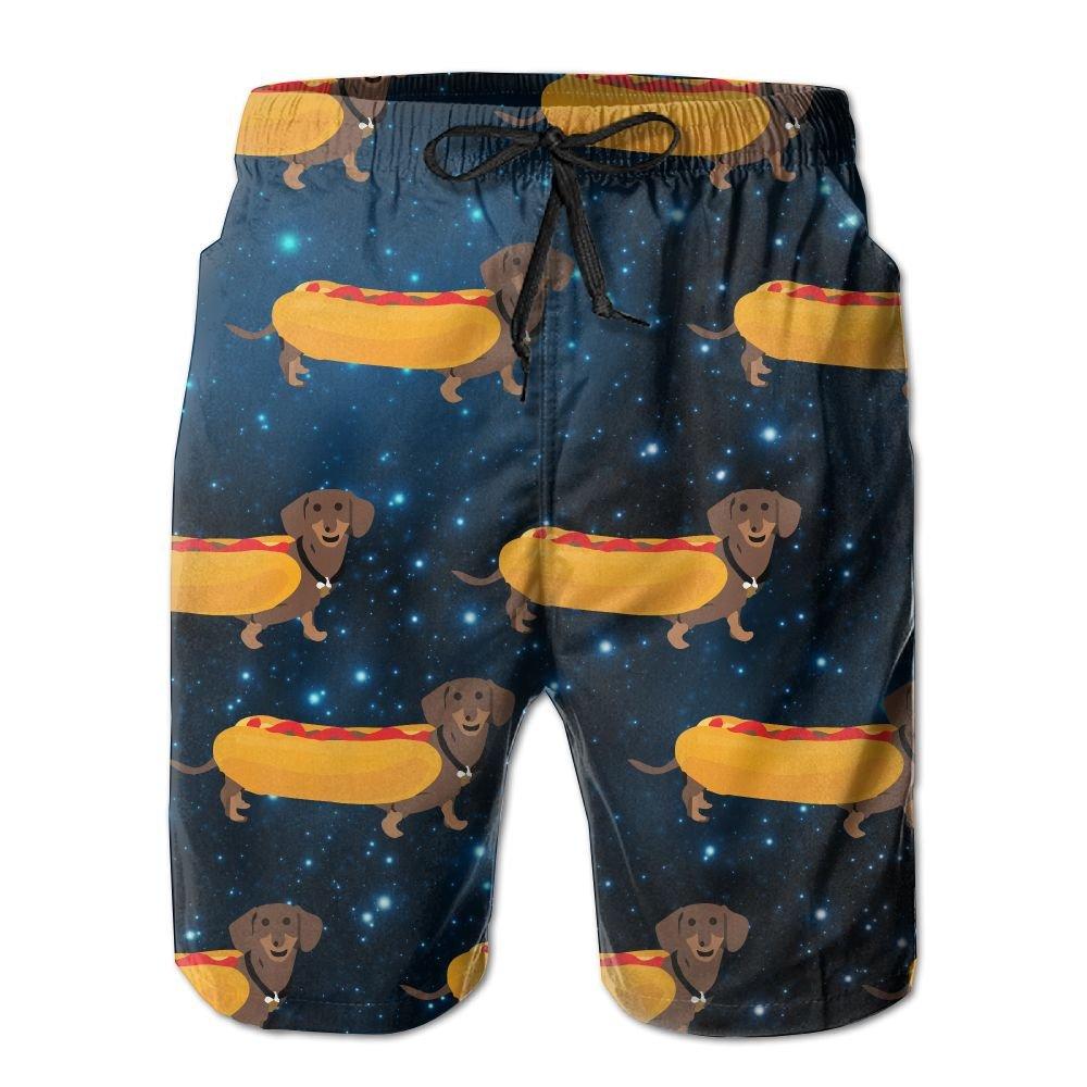 Hot Dogs Dachshund Men's Basic Boardshorts L With Pocket