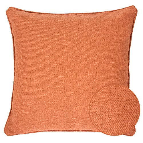 Homey Cozy Linen Textured Throw Pillow Cover,Linen Solid Series Orange Large Sofa Couch Decorative Pillow Case Western Home Decor 20x20, Cover Only
