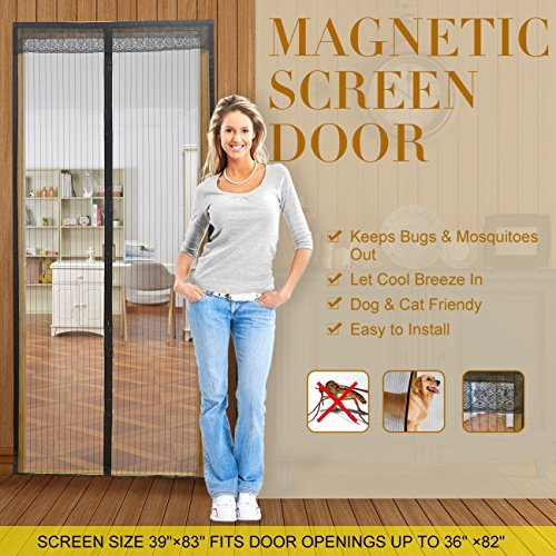 Magnetic Screen Door with Mesh Curtain keeps air in and keeps Bugs & Mosquitoes Out.Toddler And Pet Friendly. Fits Door Openings up to 37