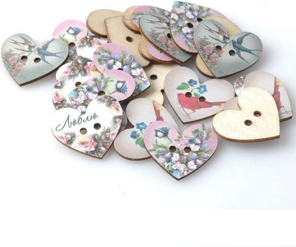 50x Love Printed Heart Shape 2-holes Flatback Wooden Button for Sewing Craft