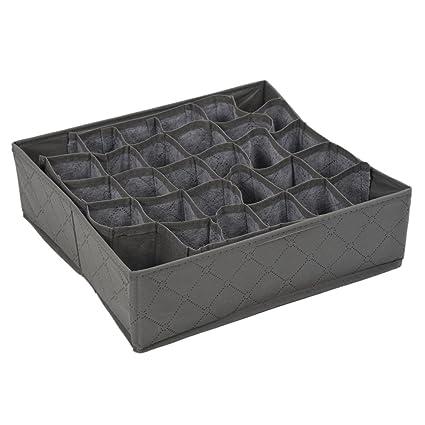 Sonline Organizador Caja de Almacenamiento 30 Compartimientos Carbon de Lena de Bambu para Ropa Interior Corbata Calcetines