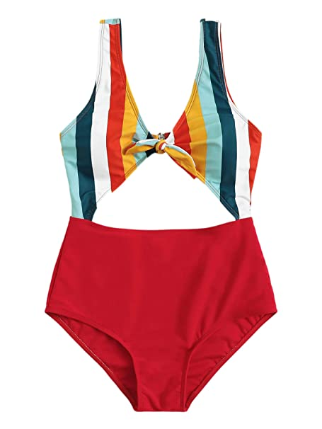 5a8107b82632d SweatyRocks Women's Sexy Bathing Suit Tie Knot Fron Cutout High Waisted One  Piece Monokini Swimsuit Multi