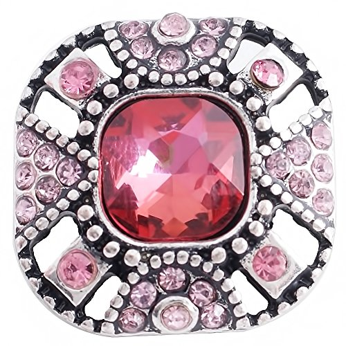 Lovmoment Snap 20MM Square Snap with Colourful Rhinestones Snaps Jewelry Charms (Red)