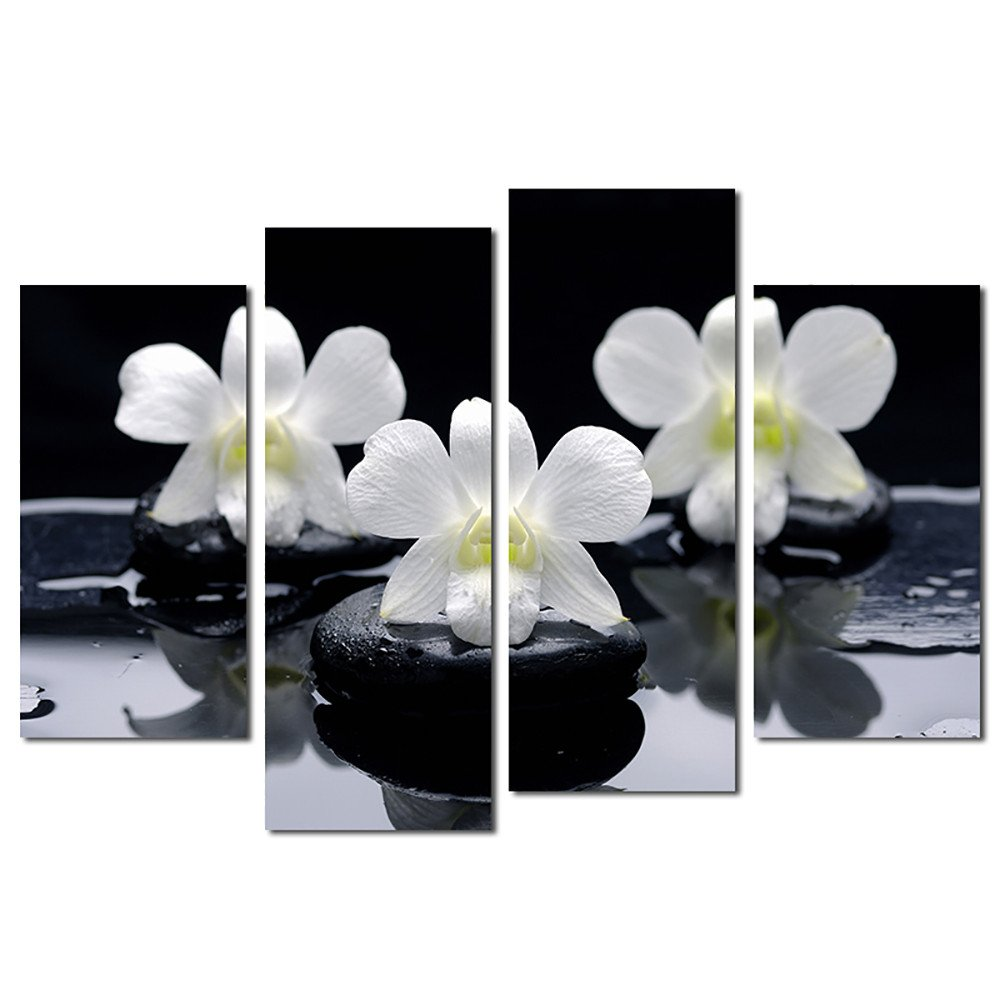 Canvas Panels Priting,ALISIAM Unframed 4 Panels Stone Flower Canvas Painting,Home Office Decorations Living Room Bedroom Artwork Flowers Paintings Prints Pictures Photo Image On Canvas Wall Art (A-2*(20cmx40cm)+2*(20cmx50cm))