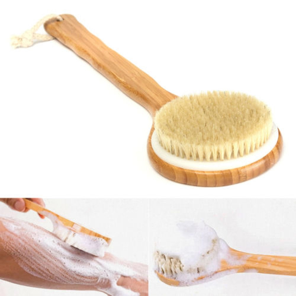 Hide on bush Long Handle Wooden Bath Shower Body Back Brush Spa Scrubber Exfoliating Improves Skin's Health and Beauty,Natural Bristle,Remove Dead Skin And Toxins, Cellulite Treatment, Improves Lymph