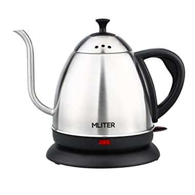 MLITER Electric Gooseneck Kettle Cordless Stainless Steel Drip Kettle for Pour Over Coffee and Tea, 1000W Water Boiler 1.0 Litre Tea Heater with Auto Shut Off & Boil Dry Protection