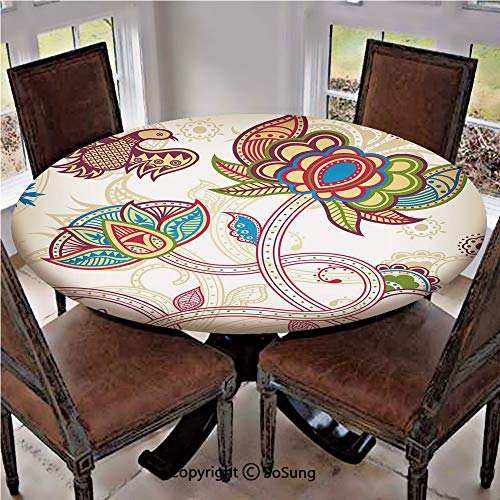 Elastic Edged Polyester Fitted Table Cover,Ethnic Birds and Curved Flower Petals Shabby Chic Style Artsy Image,Fits up 45