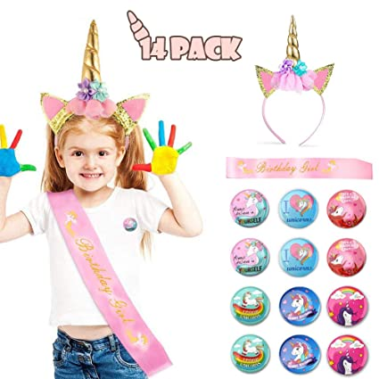 Set de unicornio con banda para la cabeza, Phogary 14 Pack ...