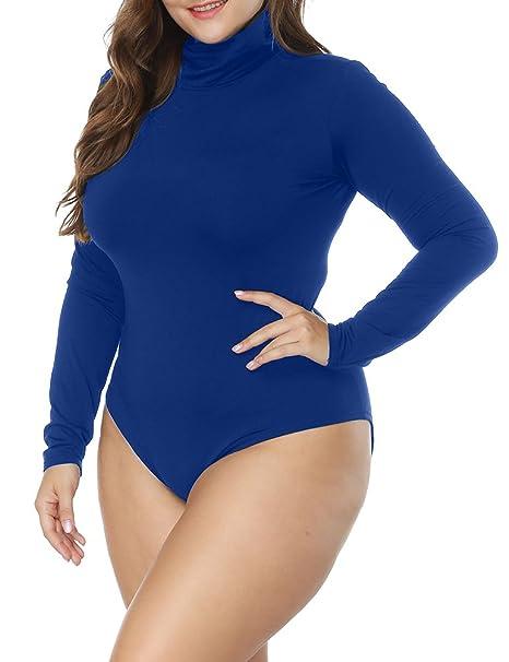 7ab8e009498 Allegrace Women s Plus Size Long Sleeve Turtleneck Crotch Snap Jumpsuits  Rompers Blue 1X