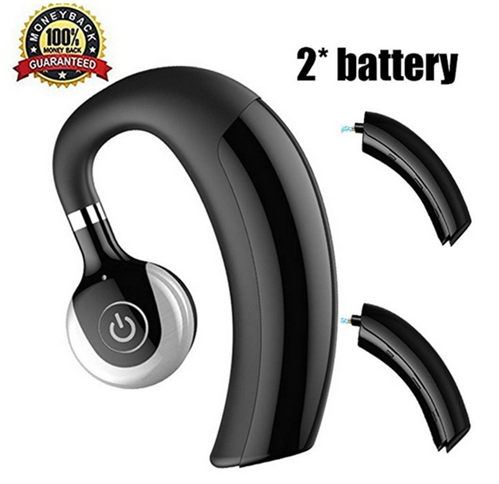 SlowLifeAttitude Wireless V4.1 Bluetooth Headset with 2pcs Replaceable Battery Business Bluetooth Headphone Universal Sports Stereo Earphone Hang Ear Headphones (A-black)