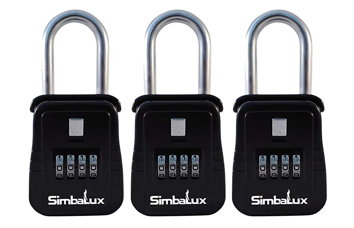 SimbaLux Combo Realtor Lockbox Quality 4 Digit Numeric Combination Real Estate Lock Box, 3-Pack by SimbaLux