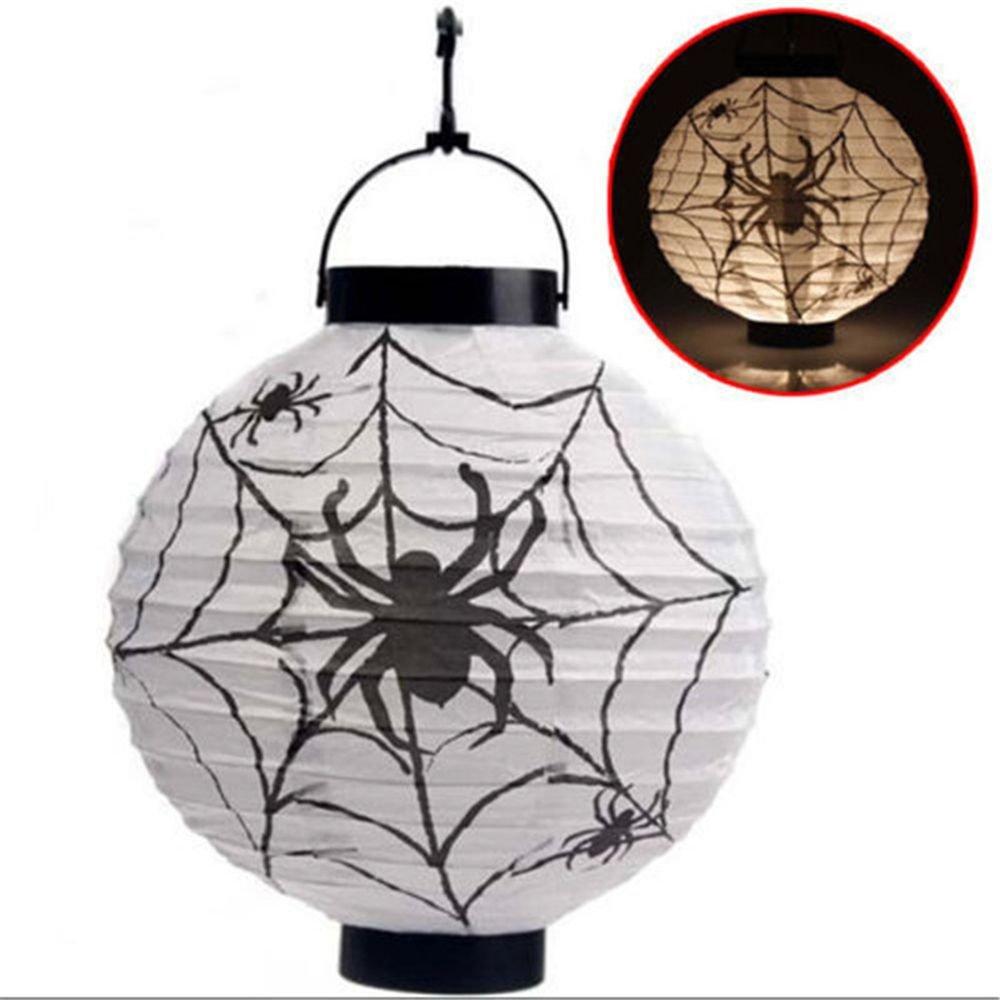 Orange Batterien nicht enthalten MAXGOODS LED Papier Halloween H/ängende Laterne Fledermaus Spinne K/ürbis Licht Party Dekor Lampe