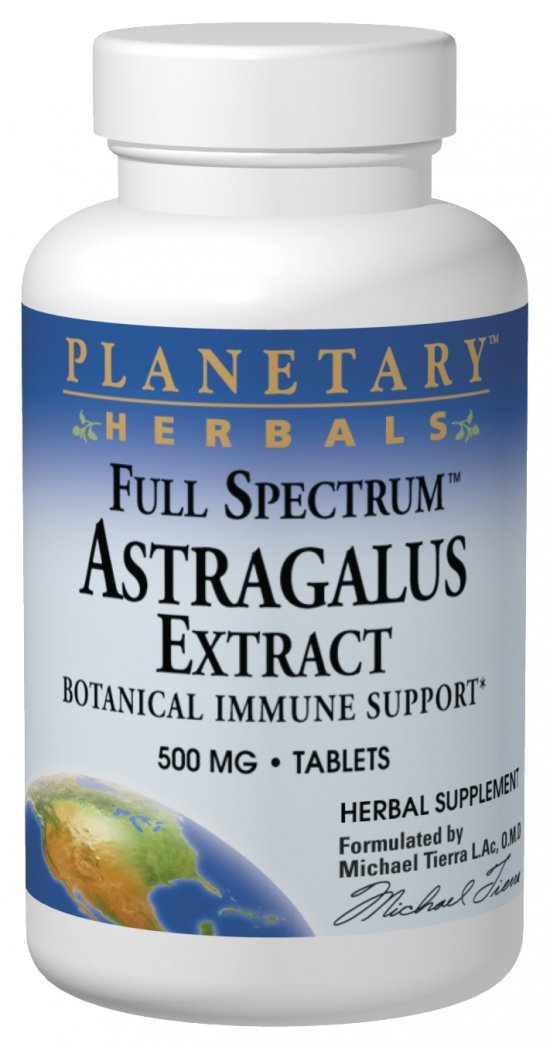 Planetary Herbals Astragalus Extract Full Spectrum 500mg, Botanical Immune Support, 120 Tablets (Pack of 2)