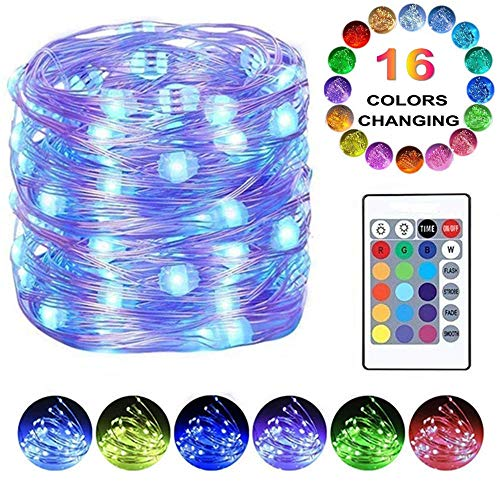 LED String Lights, Battery Powered Fairy Lights Color Changing Starry Firefly Lights Twinkle Lights Remote Timer,16 Ft 50 LED Decorative Wire Lights Bedroom Party Xmas Home (1 Pack)
