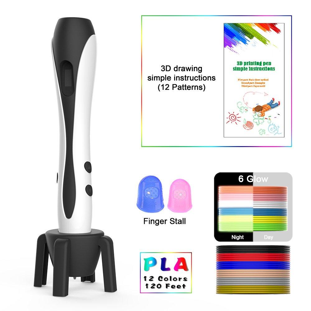 3D Pen Ezgogo 3D Printing Drawing Pen Kids Adults 12 Colors 120 Feet PLA Filament Professional Doodler Pen LCD Display Rocket-Like Design. (B661-White)