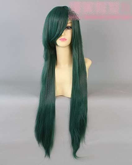 verde oscuro larga peluca cosplay recta Plutón peluca de freno de color verde oscuro de color