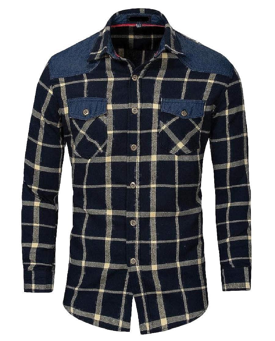 Comaba Men Lapel Plaid Splicing Cotton Denim Button Plus-Size Top Shirt