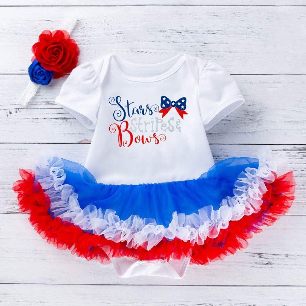 Flower Headband Set Summer Cotton Short Sleeve Romper Dress Newborn Baby Girls Independence Day Outfit Clothes