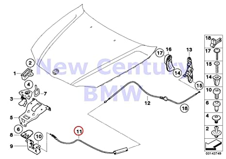 Amazon Com Bmw Genuine Engine Hood Mechanism Front Bowden Cable