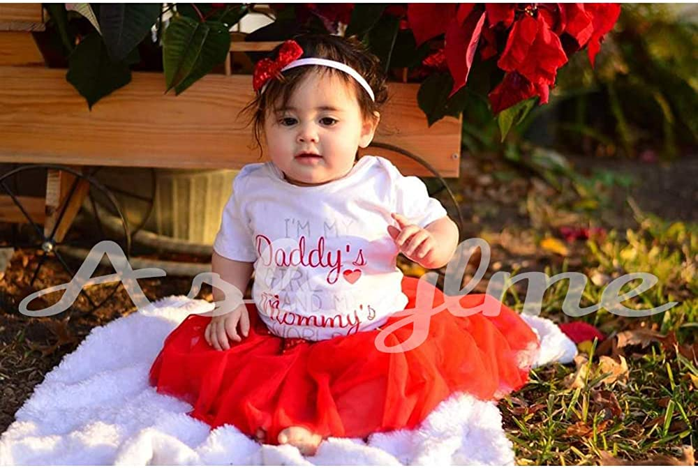 Aslaylme Baby Girl Cute Outfit Infant Daddys Girl and Mommys World Bodysuit Clothes Set with Headband
