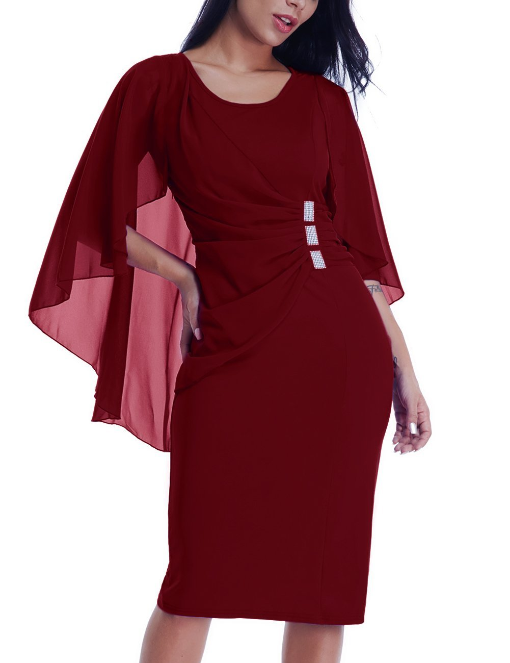 Lalagen Womens Chiffon Plus Size Ruffle Flattering Cape Sleeve Bodycon Party Pencil Dress Red XL
