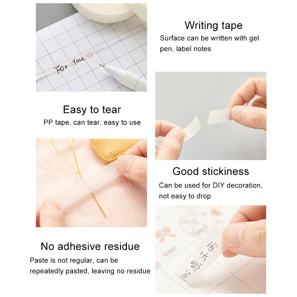 12 Rolls Invisible Tape Set, Vankcp Hand Tearing Magic Invisible Tape and 1 Non-Skid Desktop Tape Dispenser for Home, School, Office by Vankcp (Image #2)