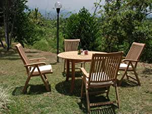 "New 5 Pc Luxurious Grade-A Teak Dining Set - 52"" Round Table And 4 Arm Chairs [Model:MRd]"